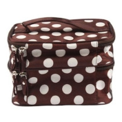 Travelling Makeup Bag Dots Coffee with White Double Layer Cosmetic Bag