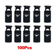 Click Down 100pcs Tent Drawstring Shoelaces Cord Locks Dia.10mm Black