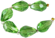 Beads, Green Faceted Crystal Teardrops 13x7mm - 6pcs