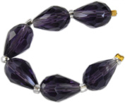 Beads, Amethyst Faceted Crystal Teardrops 13x7mm - 6pcs