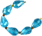 Beads, Teale Blue Faceted Crystal Teardrops 13x7mm - 6pcs