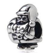Hoobeads Santa Claus Authentic 925 Sterling Silver Charm with Screw Thread Fits Pandora Chamilia Biagi Troll Beads Europen Style Bracelets