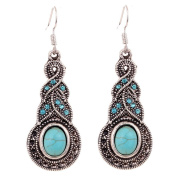 CrazyPiercing Tibetan Silver Oval Rimous Turquoise Crystal Drop Dangle Earrings