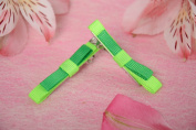 Children s homemade green rep ribbon bow hair clips set 2 pieces