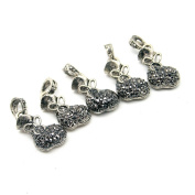 Beautiful Bead 5 pcs Hollowed Out Bag Shaped Rhinestone Jewellery Findings Pendants for Necklace Silver