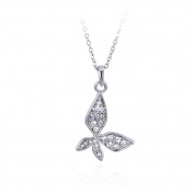 Beautiful Bead Fashion Butterfly Design Rhinestones Pendant Prince Necklace Silver