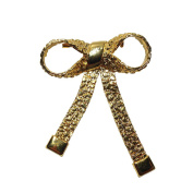 Hand Crafted Bold Style Brooches, Golden Bow Tie Ribbon Brooches, Holiday Pins