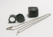 HEX LOUPE jewellers 10x BLACK 21MM TRIPLET LOUPE WITH LEATHER CASE & FREE CHAIN