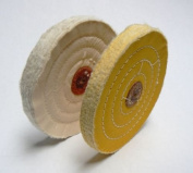 POLISHING BUFFS FINEX MUSLIN WHITE & YELLOW BUFF WHEELS 15cm BUFFING SET OF 2 Pcs