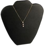 Black Leather Pendant Necklace Jewellery Display 23cm