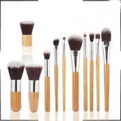 Tmalltide 11PCS Bamboo Pro Makeup Cosmetic Blush Brush Foundation Powder Brushes Kit Set