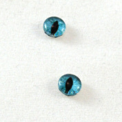 6mm Pair of Teal Cat or Dragon Glass Eyes Crafting Supply Flatback Cabochons for Doll or Jewellery Making Set of 2