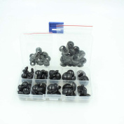 52pcs 12-20mm Black Plastic Safety Eyes for Teddy Bear Doll Animal Puppet Crafts in One Box
