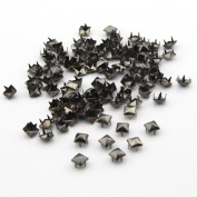 100pcs 6mm Pyramid Square DIY Metal Studs 4 Prongs Spots Nailheads Spikes for Bag Shoes Jeans Bracelet Gun Black Colour