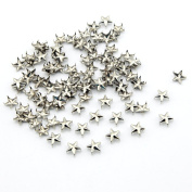100pcs 10mm Star DIY Metal Studs 5 Prongs Spots Nailheads Spikes for Bag Shoes Jeans Bracelet Sliver