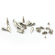 50pcs 7x19mm Cone Spikes Screwback DIY Craft Cool Punk Bullet Rivets for Bag Shoes Jeans Bracelet Silver