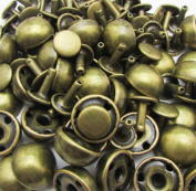 Amanteao Bronze Double Cap Rivets Mushroom Cap 12mm and Post 8mm Pack of 100 Sets