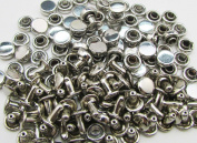 Amanteao Silvery Double Cap Rivets High Terrace Plane Cap 6mm and Post 4mm Pack of 150 Sets