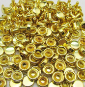 Amanteao Golden Double Cap Rivets High Terrace Cap 6mm and Post 6mm Pack of 150 Sets