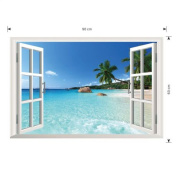 PATTONJIOE Rare Chic Beach Landscape 3D Window View Decal WALL STICKER Art Home Decor Mural