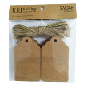 Sacar Stationery Kraft Tags - Pack of 100 Tags with 10 Metres of Jute Twine - For Use As Gift Tags, Wedding Favour Tags, Product Label / Price Tags or for Scrapbooking and Various Arts & Crafts Projects