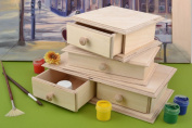 Handmade wooden blanks for jewellery boxes set 3 pieces with drawers home decor