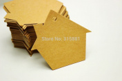 500 Pieces Creative House,Kraft Blank price Hang tag ,Retro Kraft Gift tag ,Paper Label Cards