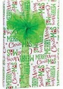 Red Lime Green Merry Christmas Holiday Gift Wrap Paper - 4.9m Continuous Roll