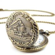 Mosunx(TM) Unisex Antique Train Case Vintage Brass Rib Chain Quartz Pocket Watch with Chain
