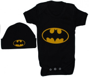 Bat Baby Bodysuit/Romper/Vest/T-Shirt & Beenie Hat Set Batman Black 0 to 12 Months