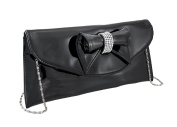 Glossy Clutch Purse with Rhinestone Accented Bow