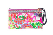 White Garden Tribal Bag Clutch Style with Thai Hmong Embroidered
