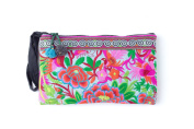 Blue Garden Tribal Bag Clutch Style with Thai Hmong Embroidered