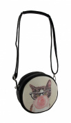 Adorable Hipster Bubblegum Cat Round Cross Body Purse