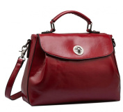 WenHong Women's Retro Style Solid Rotating Button Crossbody Top Handle Bag