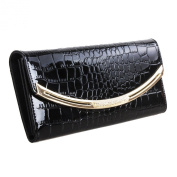 Mantos Eternity Alligator Pattern Lady's Cow Leather Trifold Wallet Card Case Long Purse Handbag