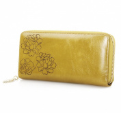 Mantos Eternity Soft Lux Floral Embossed Women's Wax Paper Genuine Leather Zipper Arround Long Wallet Purse Card Phone Holder