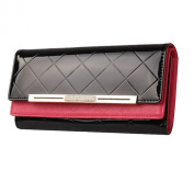 Mantos Eternity Women's Genuine Leather Long Clutch Purse Handbag Change Case with Cheques Purse Double Layer Wallet 13 Credit Card Holder
