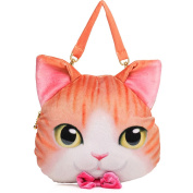E.a@market Lovely Cat Head Animal Motifs Lady's Plush Handbag