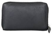 Women's Black Nice Quality Zip-around Genuine Leather Wallet
