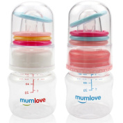 Mumlove BPA Free Newborn Baby Feeding Bottle with Slow Flow/ Rattles Feeding Bottle,60ml, 2 Count