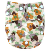 "Kawaii Baby One Size Snazzy Minky Cloth Nappy with 2 Microfiber Inserts ""Bird House"""