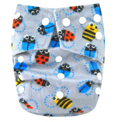 "Kawaii Baby One Size Snazzy Minky Cloth Nappy with 2 Microfiber Inserts ""Bees"""