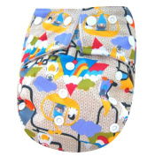 "Kawaii Baby Printed Snap One Size Cloth Nappy with 2 Microfiber Inserts ""Gnomes"""
