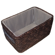 "Sealive Handmade Woven Straw Storage Basket With Handles Eco-friendly,Laundry Hamper,Closet Organiser Box-Basket Fits in Any Room,25cm x 18cm x 6"",Natural"