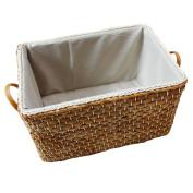 "Sealive Japaness Style Storage Basket Handmade Woven Cornstock Cornstalk Hamper Laundry Container With Handlesfor Bathroom Bedroom Closet,38cm x 25cm x 8"",Light Brown"