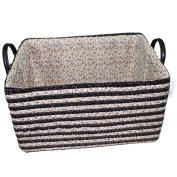 Sealive Pastorale Storage Basket With Handles Made of PP,Laundry Hamper,Magazine & Bra & Closet Organiser Box-Basket for Cloakroom Bathroom Bedroom Garden,36cm x 25cm x 7.18cm ,Black Stripe
