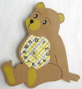 Nursery Wall Clock, Nursery Teddy Bear Clock, Hanging Teddy Bear Clock, Children's Room Wall Clock, Teddy Bear Wall Clock , Tan