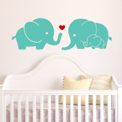 Elephant Family Wall Decal with Red Heart (Mint) - 23cm X 70cm