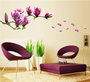 Purple Flowers Branch Wall Decal Home Sticker Paper Removable Living Dinning Room Bedroom Kitchen Art Picture Murals DIY Stick Girls Boys kids Nursery Baby Playroom Decoration PP-AY7105